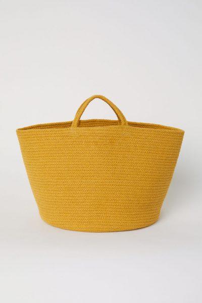 HM yellow cotton storage basket 400x600 - My Shop