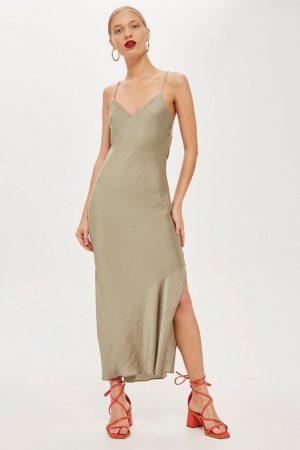 topshop khaki Satin Slip Dress 300x450 - My Shop
